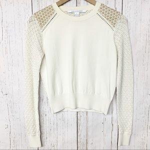 DVF cream gold crochet lightweight sweater S